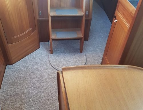 Interior carpet fitted on a 36ft Najad Sailing Boat in Chichester Marina